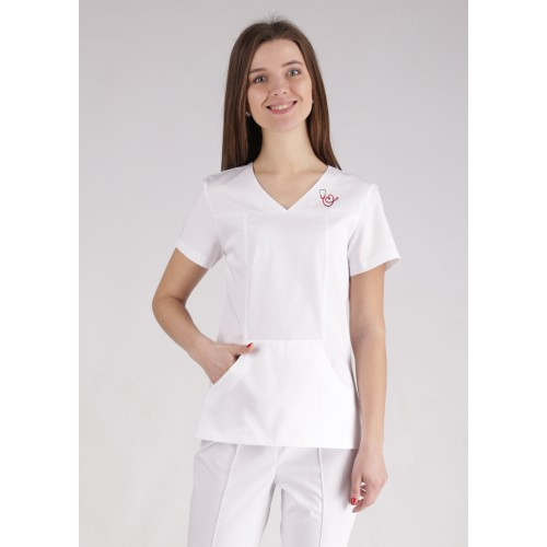 Медицинский костюм Сидней белый/вышивка фонендоскоп сердце №10369
