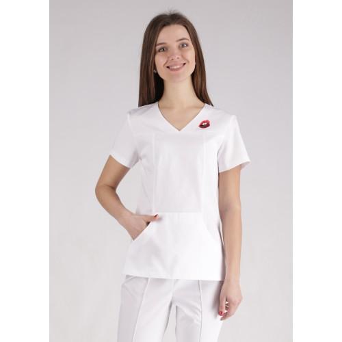 Медицинский костюм Сидней белый/вышивка губы №10371