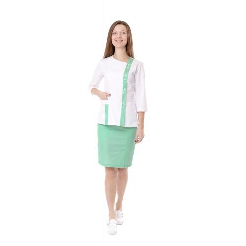 Медицинский костюм женский Шанхай белый/мятный № 10685