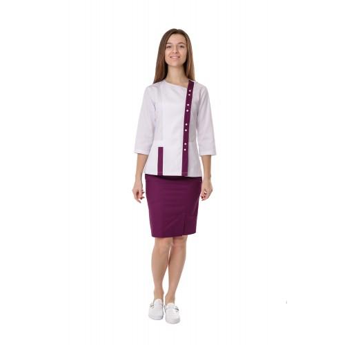 Медицинский костюм женский Шанхай белый/сливовый № 10684