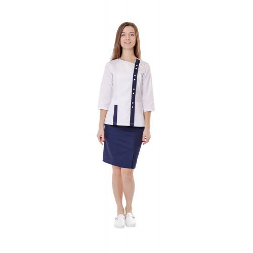 Медицинский костюм женский Шанхай белый/синий № 10687