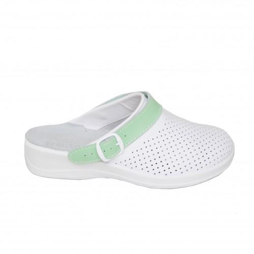 Медицинская обувь Сабо Лера Белый/ремень-зеленый