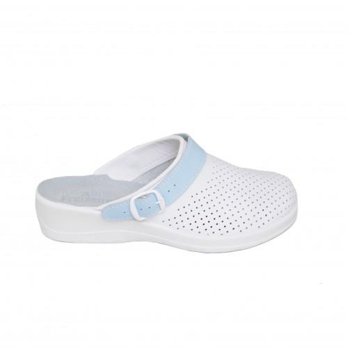 Медицинская обувь Сабо Лера Белый/ремень-голубой