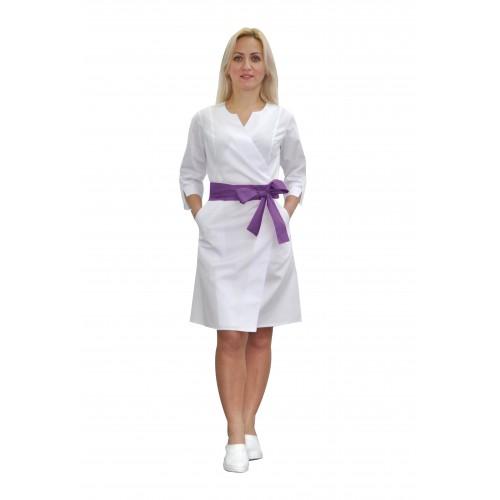 Медицинский халат женский Верона белый/фиолетовый №633078