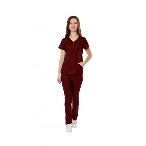 Медицинский костюм Сидней бордо №10372
