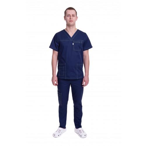 Медицинский костюм Балтимор (ПРЕМИУМ) тёмно синий №13000