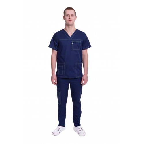 Медицинский костюм Балтимор (ПРЕМИУМ) тёмно синий