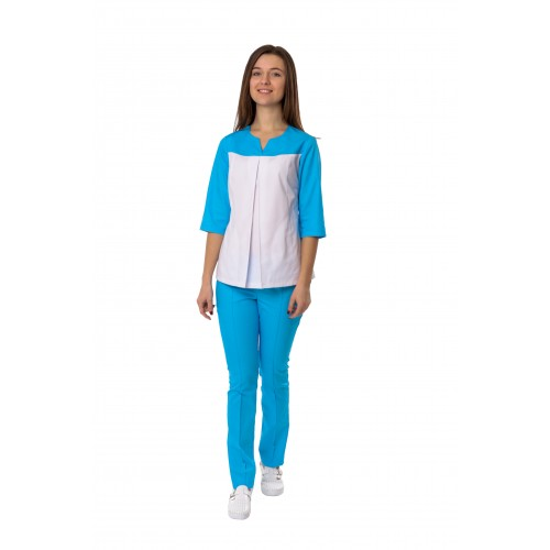 Медицинский костюм Гавана Белый-голубой