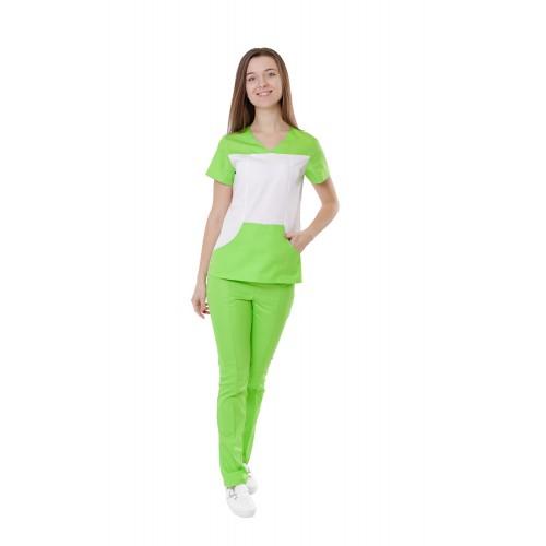 Медицинский костюм Сидней  белый/лаймовый №10367