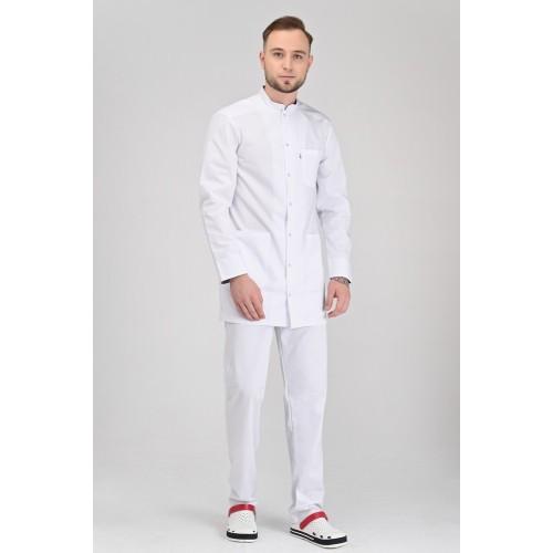 Медицинский укороченный халат Бонн Белый