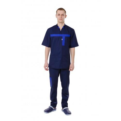 Медицинский костюм Эдинбург темно синий/электрик №12999
