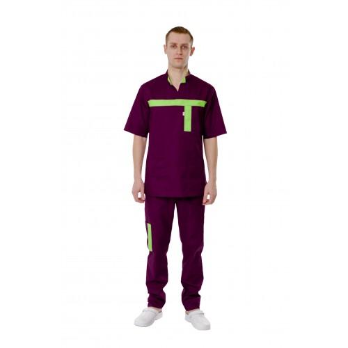 Медицинский костюм Эдинбург светло сливовый/лаймовый №12666