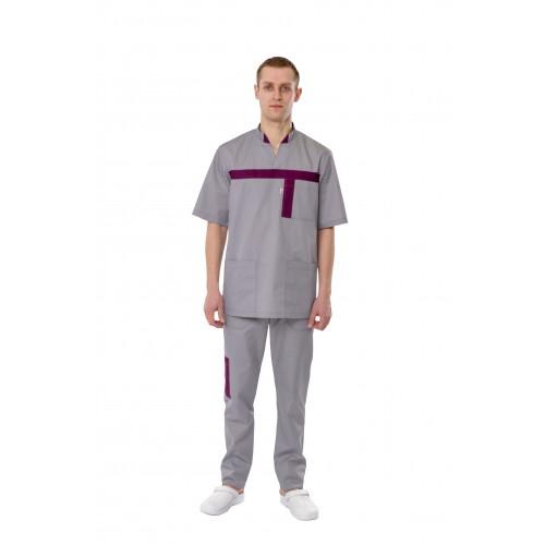 Медицинский костюм Эдинбург светло серый/сливовый №12777