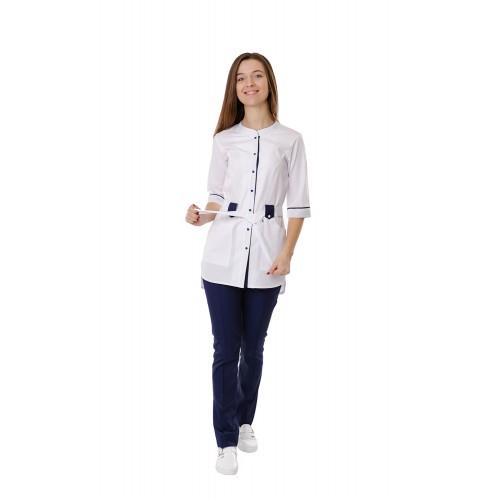 Медицинский костюм Дели белый/темно синий №1125
