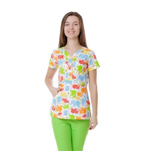 Медицинская куртка женская Бали Слоны №1114