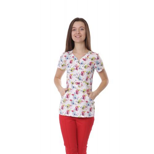 Медицинская куртка женская Бали  Попугаи №1115
