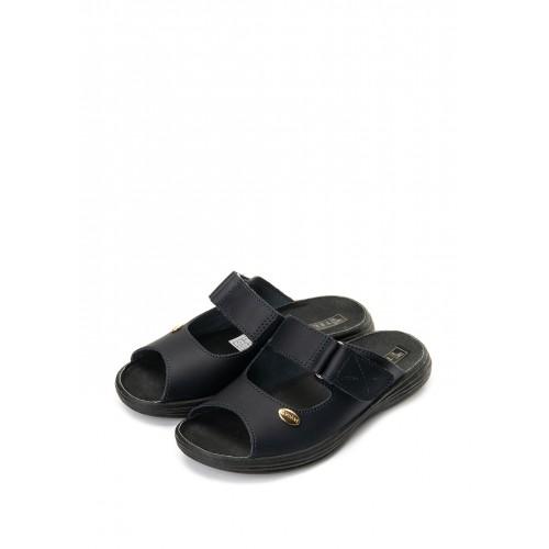 """TL Взуття """"Галя"""" 54-09 чорна кожа, відкриті з липучкою"""