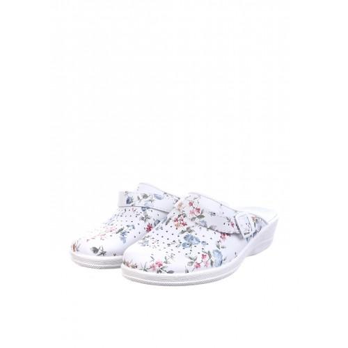 """TL Взуття """"Яна"""" 51-08/02 весна біла нат. кожа, ремінь, мілка перф. з прінтом квітка"""