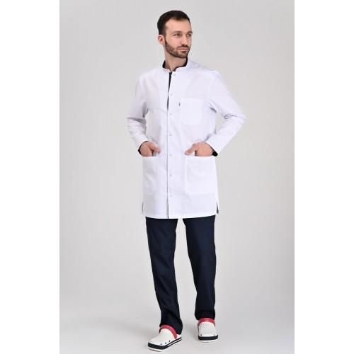 Медицинский укороченный халат Бонн Белый/Тёмно-синий