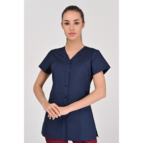 Медицинская куртка Аланья Тёмно-синяя (пуговица), Короткий Рукав