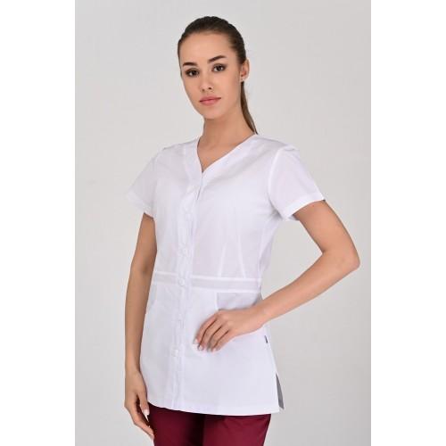 Медицинская куртка Аланья Белая (пуговица), Короткий Рукав