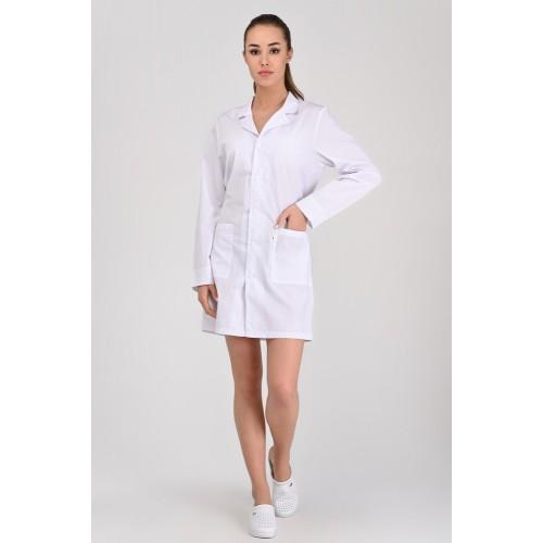 Медицинский халат Школьный Белый (пуговица)