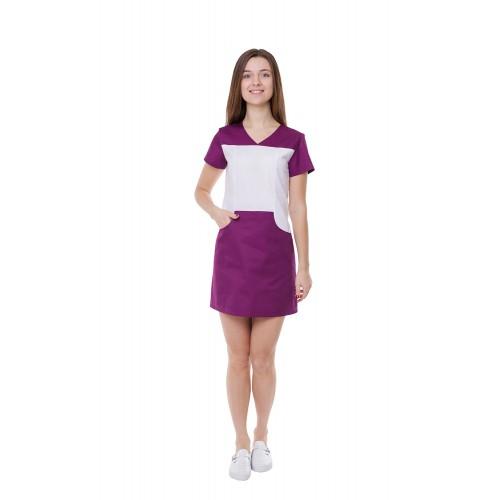 Медицинский халат женский Сидней белый/сливовый №899