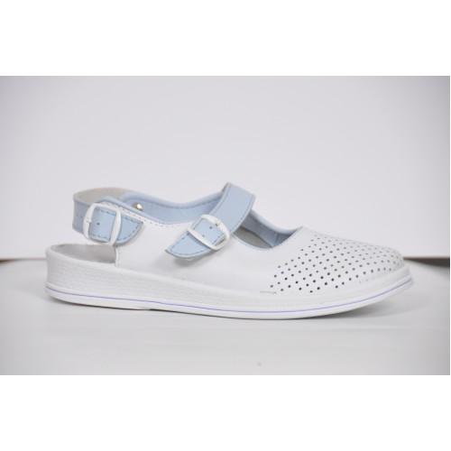 """TL Взуття """"Рая"""" 74-05 біла кожа, відкрита п'ятка з блакитним ремінцем"""