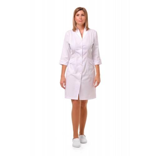 Медицинский халат Аризона Белый (белая пуговица)