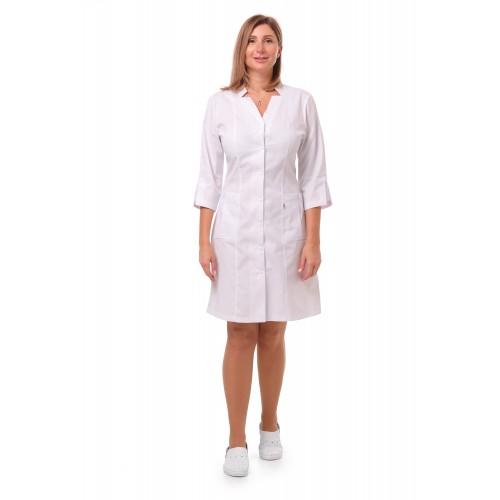 Медицинский халат Генуя белый (кнопка)