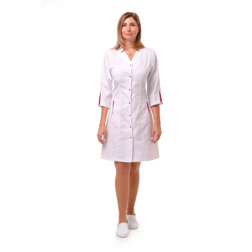 Медицинский халат Генуя белый/красный (кнопка)