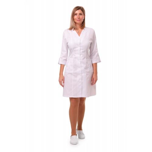 Медицинский халат Генуя белый (белая пуговица)