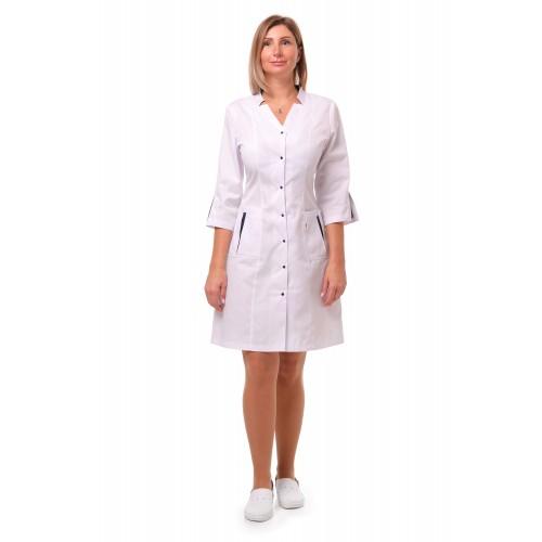 Медицинский халат Генуя белый/темно-синий (кнопка)