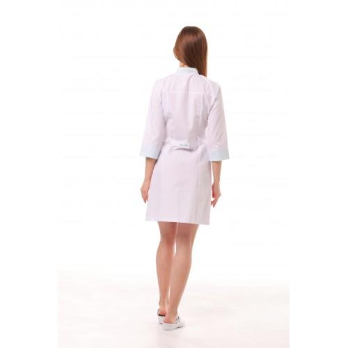 Медицинский халат женский Пекин белый-мятный
