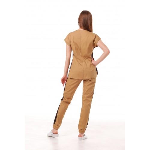 Медицинский костюм Парма Бежевый-коричневый