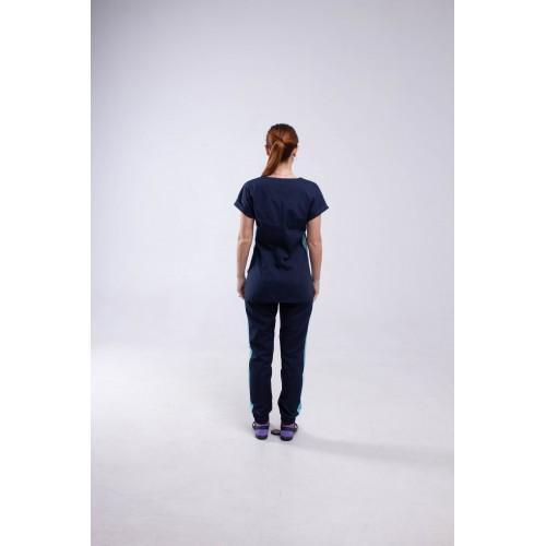 Медицинский костюм Парма - темно/синий-мятный