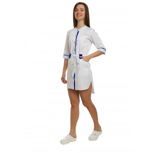 Медицинский халат женский Дели белый/темно синий №1127