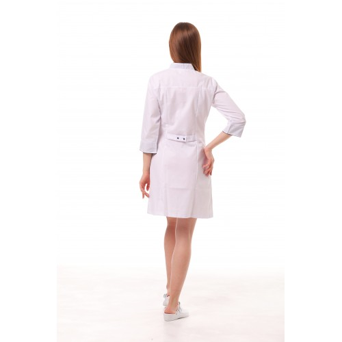 Медицинский халат женский Пекин белый-темно/cиний