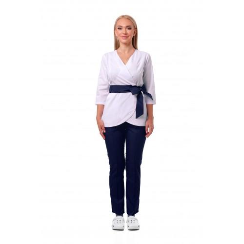 Медицинский костюм Токио белый/синий №633070