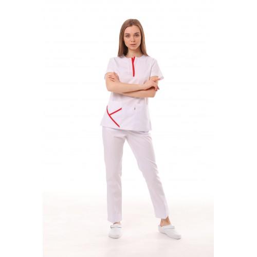 Медицинский костюм Турин Белый/Красный