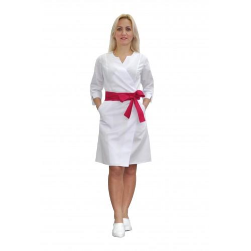 Медицинский халат женский Верона белый/малиновый №633077