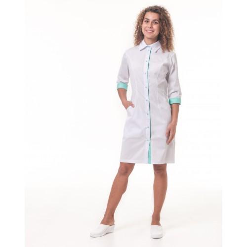 Медицинский халат женский Филадельфия белый-мятный