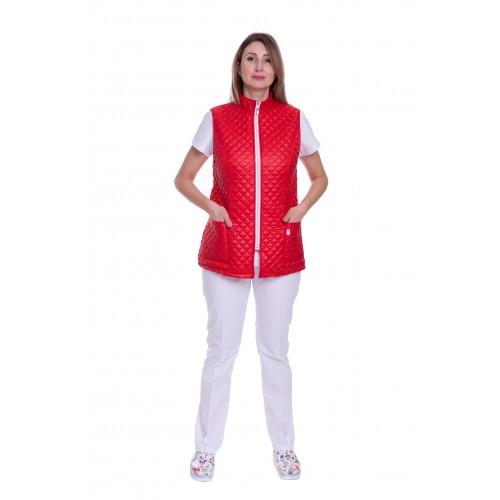 Медицинский жилет Аляска 2 (стойка) стеганый Красный