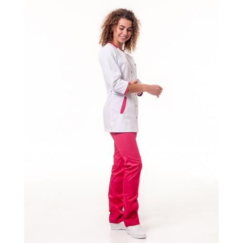 Медицинский костюм Анталия Белый-малиновый