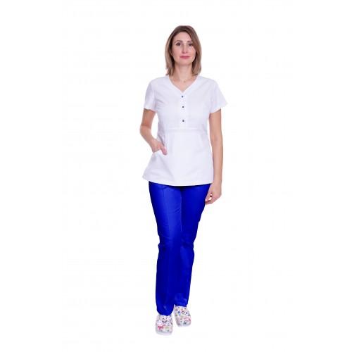 Медицинский костюм женский Бали белый/синий электрик