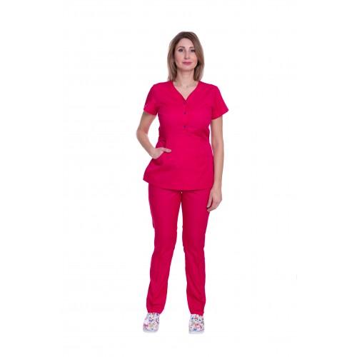 Медицинский костюм женский Бали малиновый/т. синяя кнопка № 63320