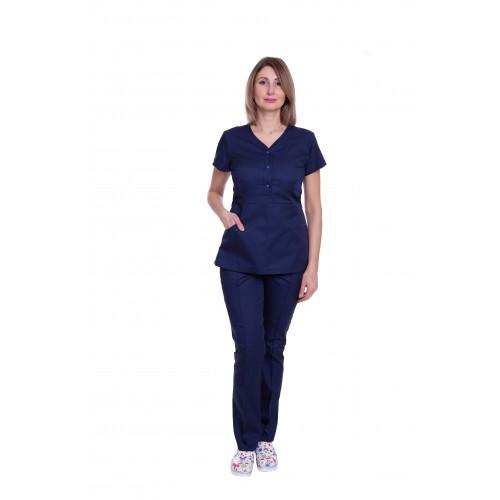 Медицинский костюм женский Бали тёмно - синий № 63323