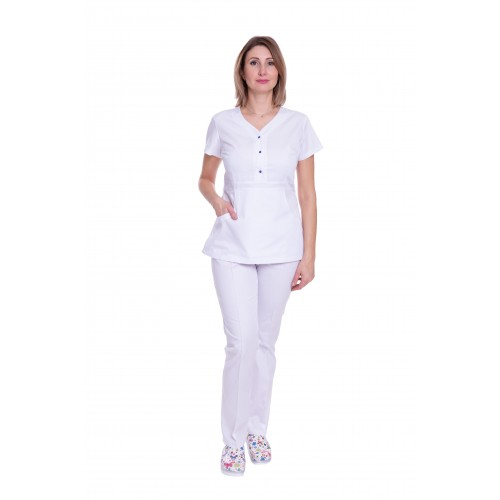 Медицинский костюм женский Бали белый/синяя кнопка № 63319