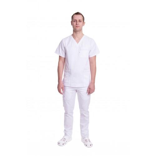 Медицинский костюм Балтимор (ПРЕМИУМ) Белый