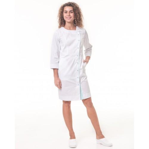 Медицинский халат Париж Белый-мятный